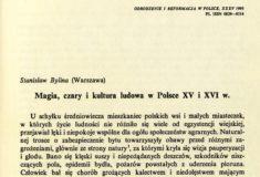 Magia, czary i kultura ludowa w Polsce XV i XVIw, Stanisław Bylina