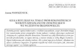 Kilka refleksji natemat prób rekonstrukcji wierzeń mieszkańców ziem polskich wewczesnym średniowieczu, Joanna Wawrzeniuk