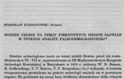 Nowe teorie na temat pierwszych siedzib Słowian w świetle analizy paleodemograficznej, Stanisław Kurtanowski