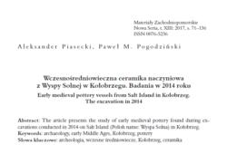 Wczesnośredniowieczna ceramika naczyniowa z Wyspy Solnej w Kołobrzegu. Badania w 2014 roku, Aleksander Piasecki, Paweł M. Pogodziński